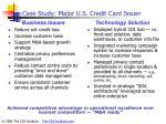 case study major u s credit card issuer