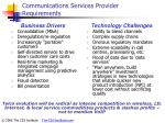 communications services provider requirements