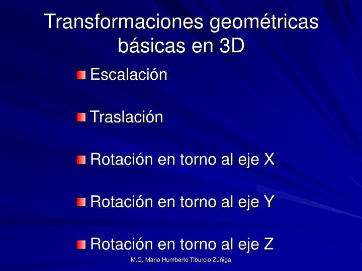 Transformaciones geométricas básicas en 3D