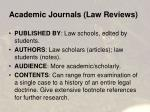 academic journals law reviews