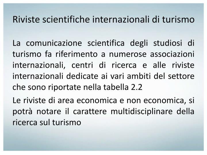 Riviste scientifiche internazionali di turismo