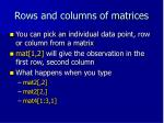 rows and columns of matrices