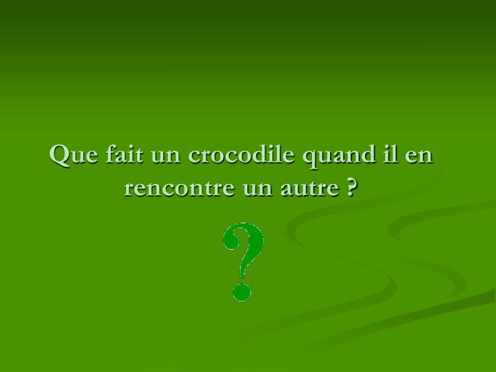 Que fait un crocodile quand il en rencontre un autre ?