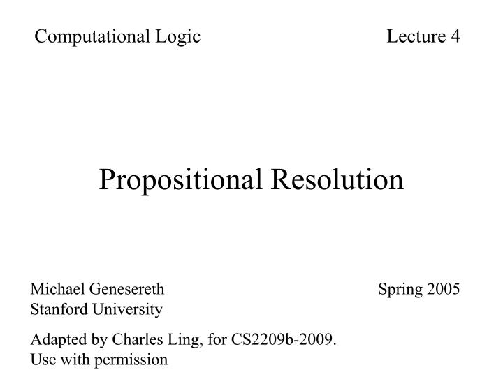 propositional resolution n.