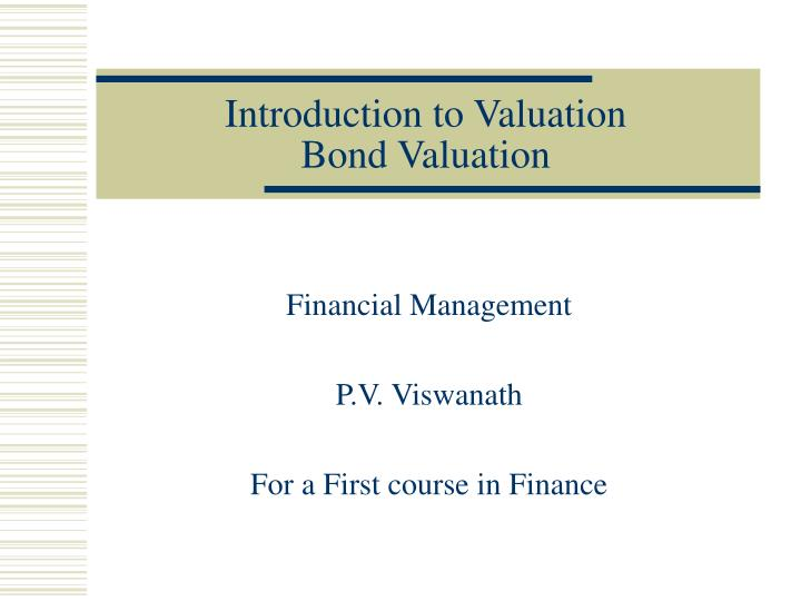 introduction to valuation bond valuation n.