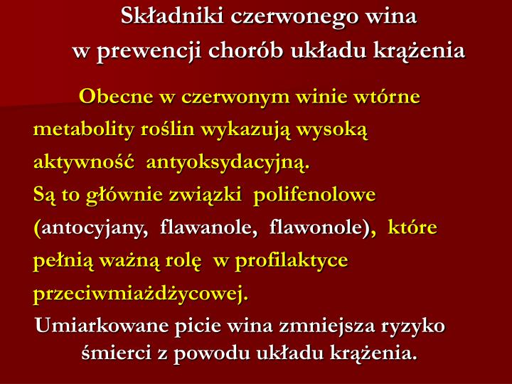 Składniki czerwonego wina