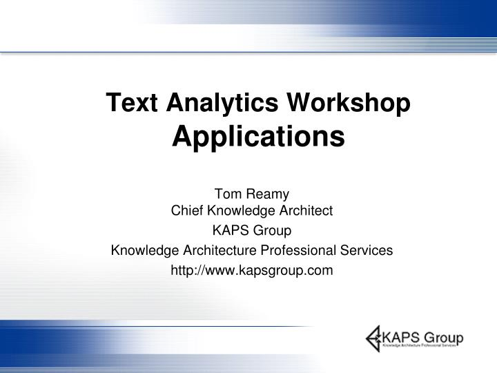 text analytics workshop applications n.