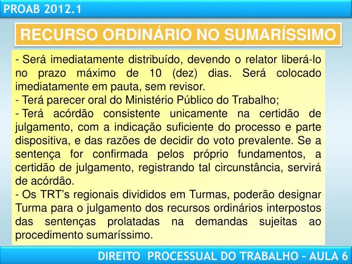 RECURSO ORDINÁRIO NO SUMARÍSSIMO