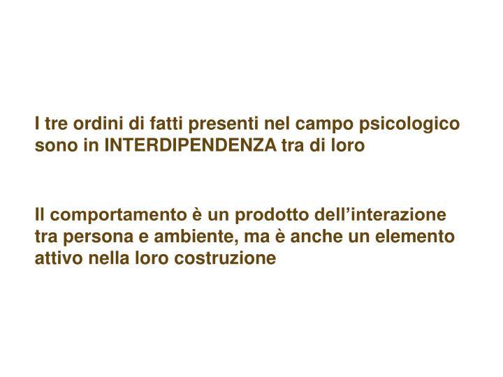 I tre ordini di fatti presenti nel campo psicologico sono in INTERDIPENDENZA tra di loro
