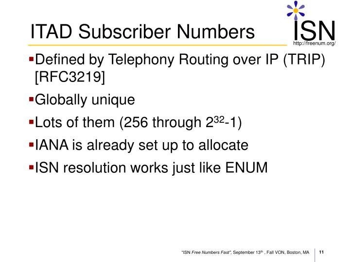ITAD Subscriber Numbers