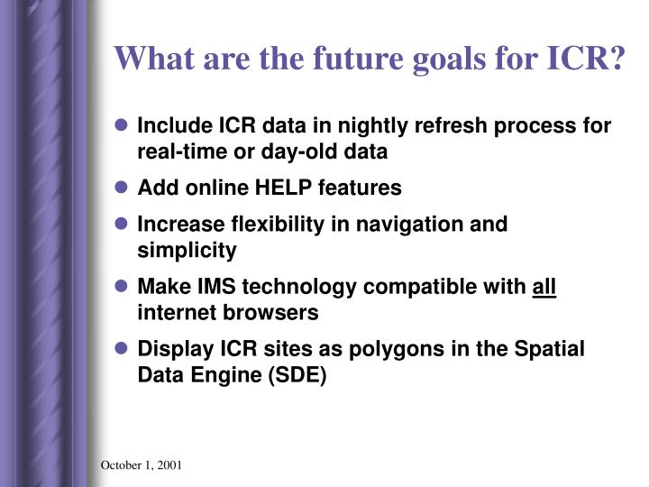 What are the future goals for ICR?