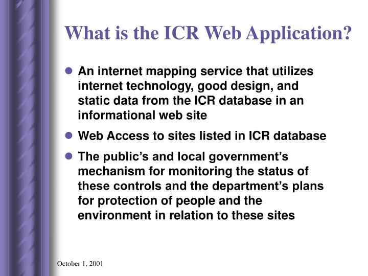 What is the icr web application