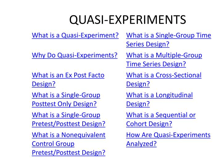 quasi experiment Randomization and simpson's paradox randomization is the major difference between experiment and quasi-experiment it is important to point out some common misconceptions regarding randomization.
