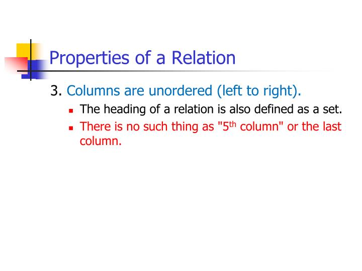 Properties of a Relation