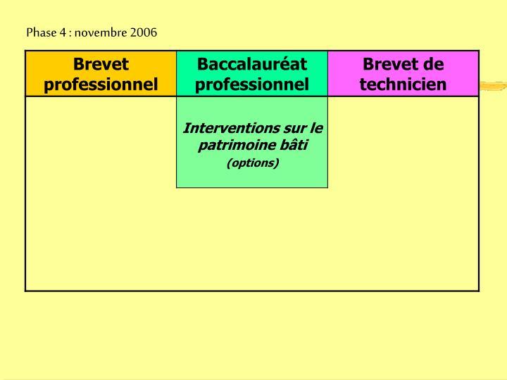 Phase 4 : novembre 2006