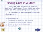 finding clues in a story