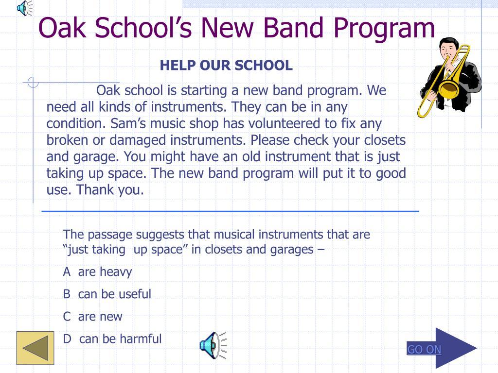 Oak School's New Band Program