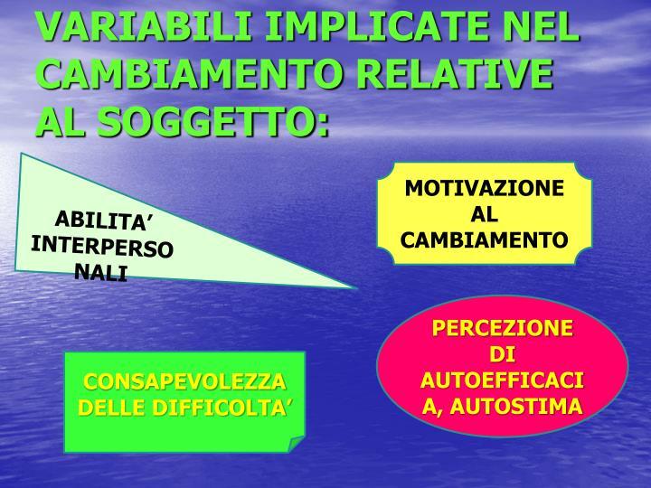 VARIABILI IMPLICATE NEL CAMBIAMENTO RELATIVE AL SOGGETTO: