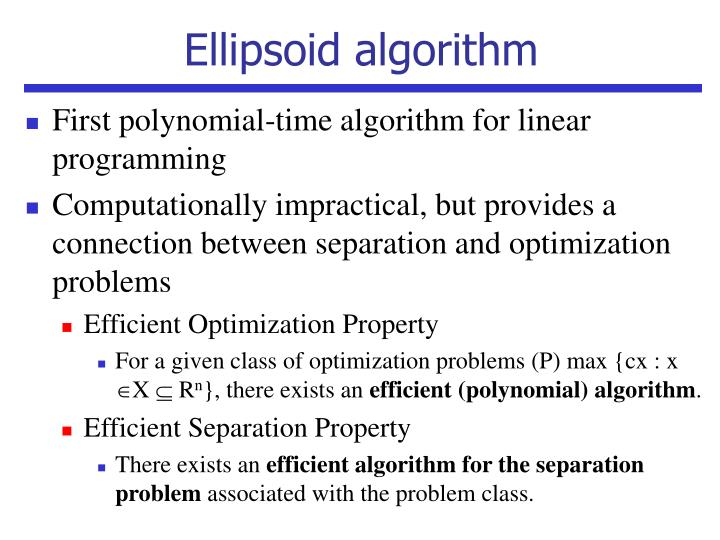 Ellipsoid algorithm