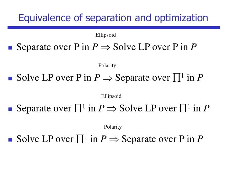 Equivalence of separation and optimization