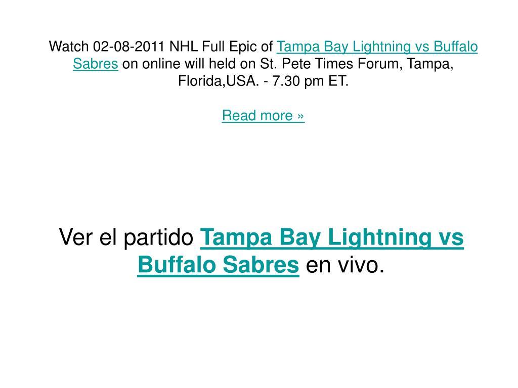 ver el partido tampa bay lightning vs buffalo sabres en vivo l.
