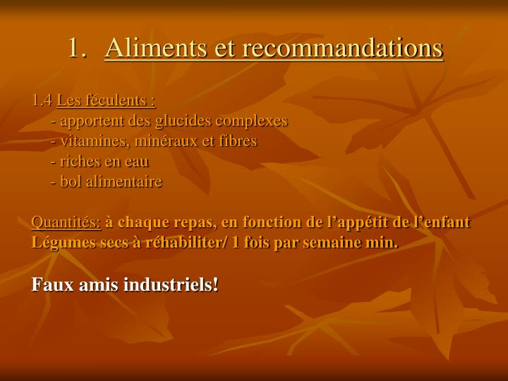 Aliments et recommandations