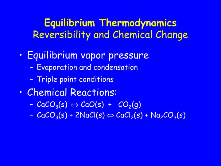 thermodynamics and chemical reactions