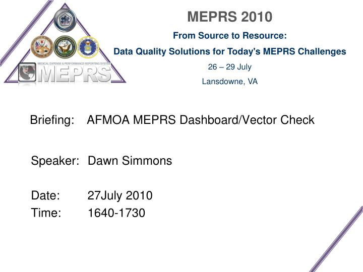 briefing afmoa meprs dashboard vector check n.
