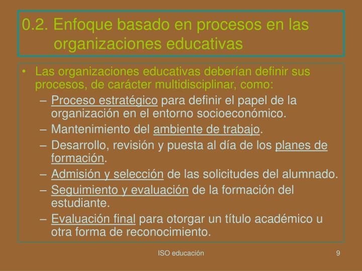 0.2. Enfoque basado en procesos en las organizaciones educativas