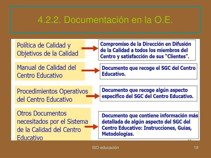 4.2.2. Documentación en la O.E.