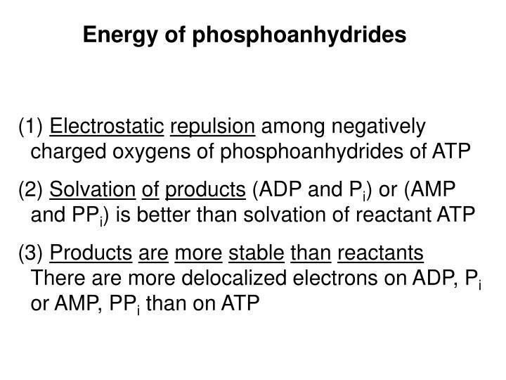 Energy of phosphoanhydrides