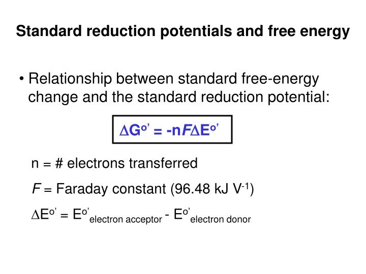 Standard reduction potentials and free energy
