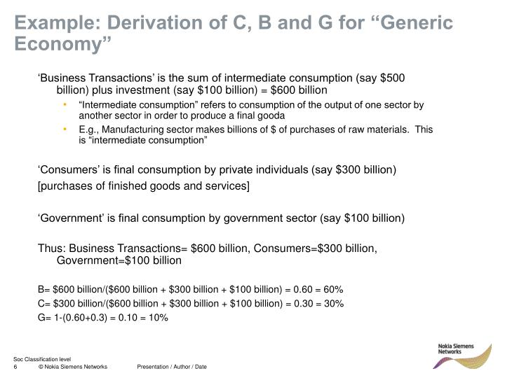 "Example: Derivation of C, B and G for ""Generic Economy"""