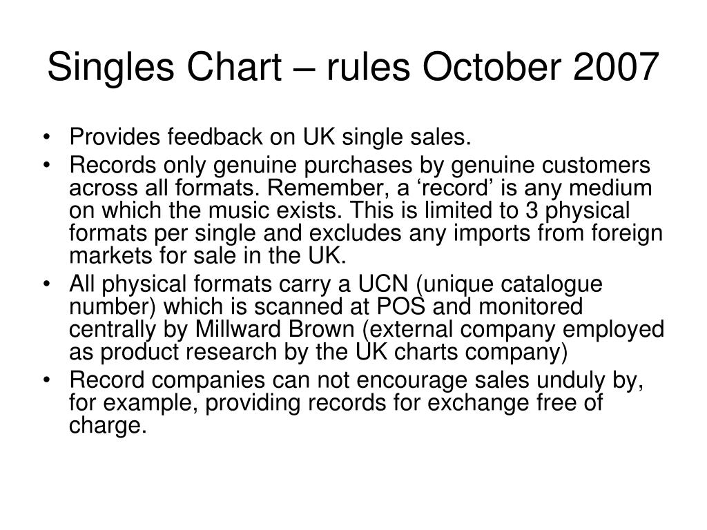Singles Chart – rules October 2007