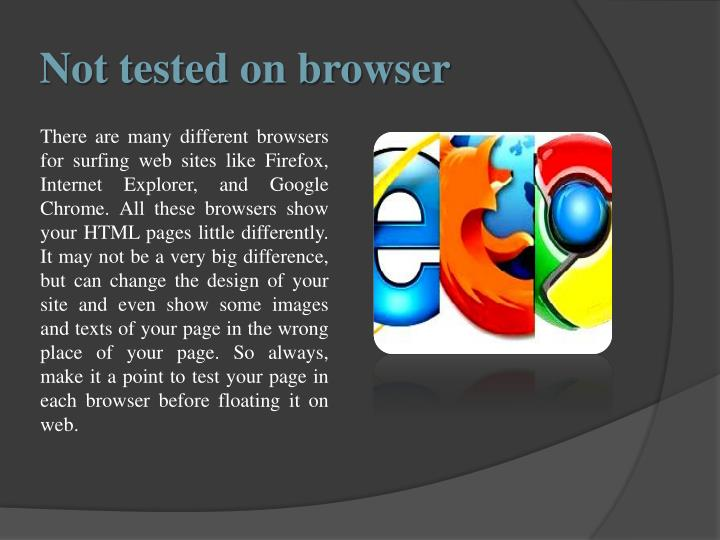 Not tested on browser