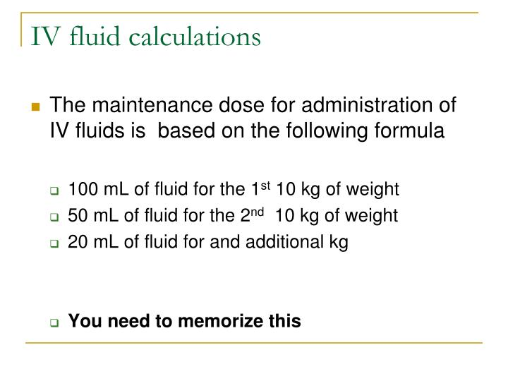 IV fluid calculations