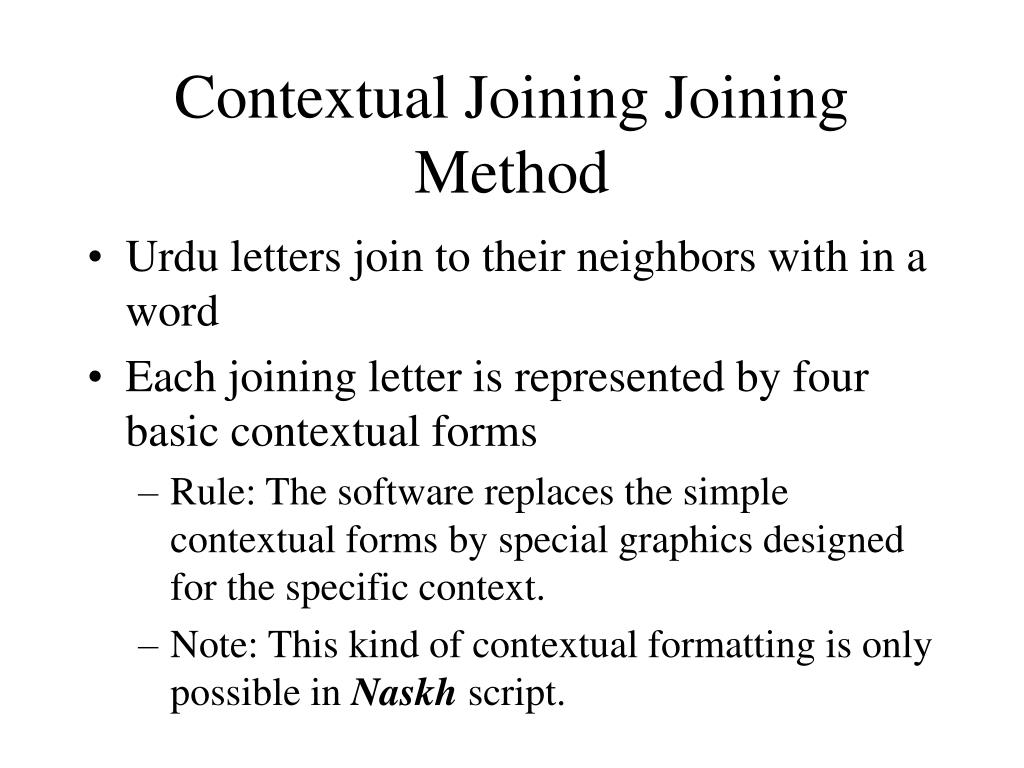 Contextual Joining Joining Method