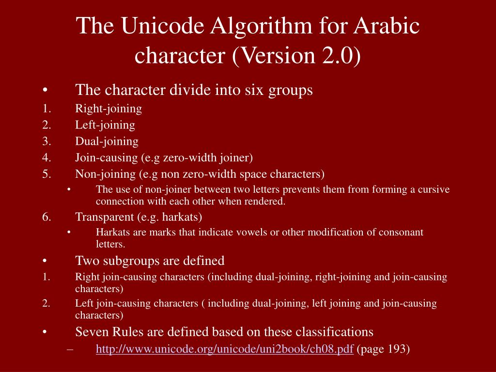 The Unicode Algorithm for Arabic character (Version 2.0)