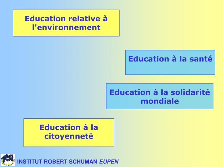 Education relative à l'environnement
