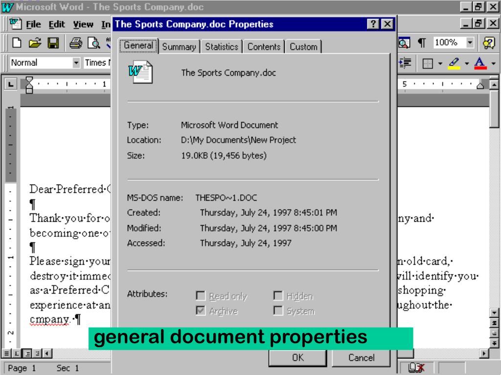 general document properties