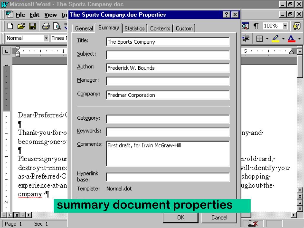 summary document properties