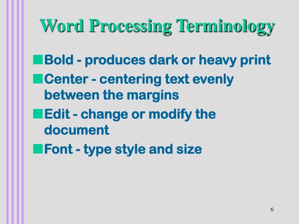 Word Processing Terminology