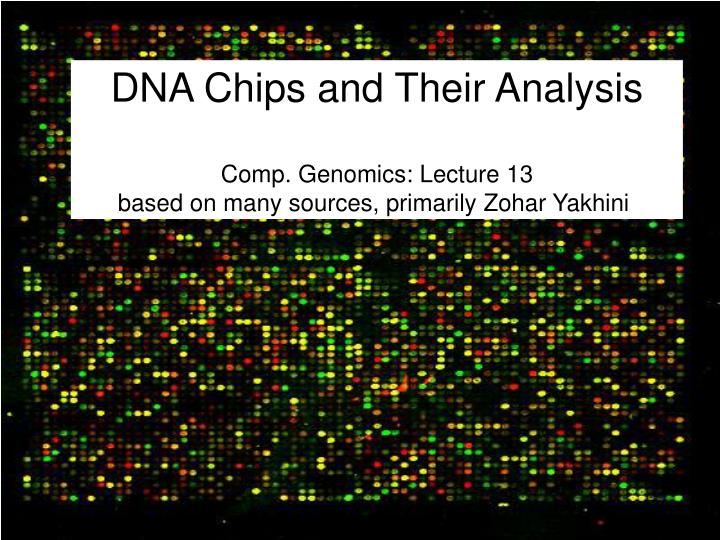 dna chips and their analysis comp genomics lecture 13 based on many sources primarily zohar yakhini n.