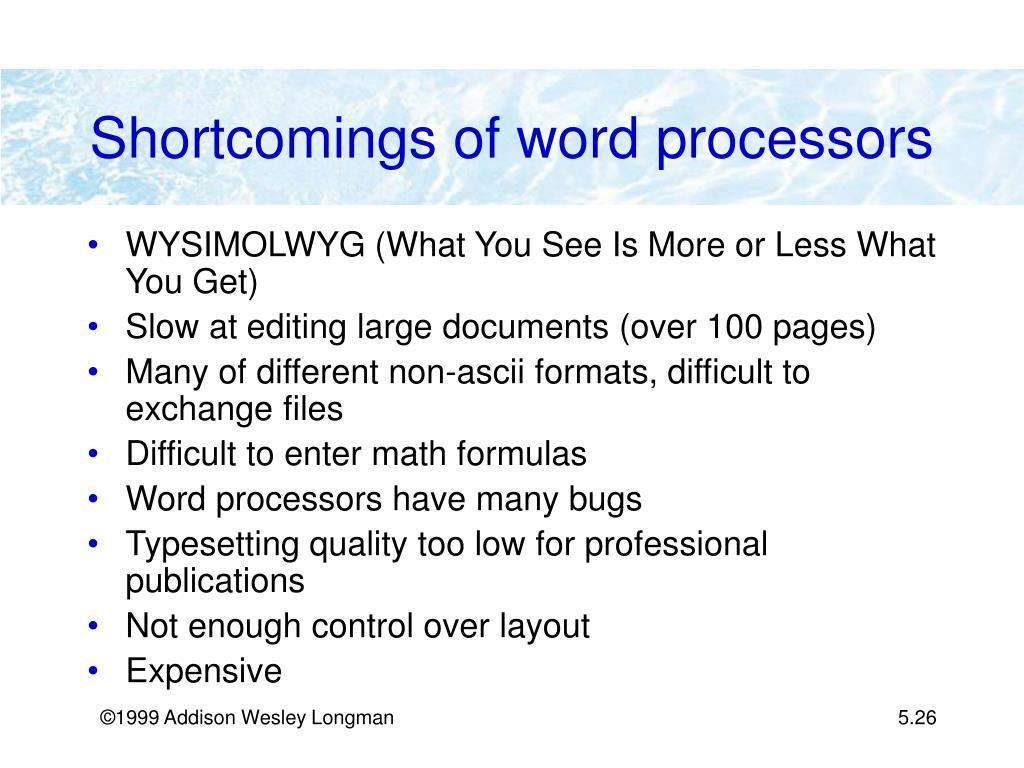 Shortcomings of word processors