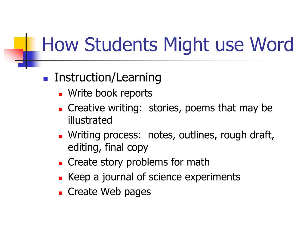 How Students Might use Word