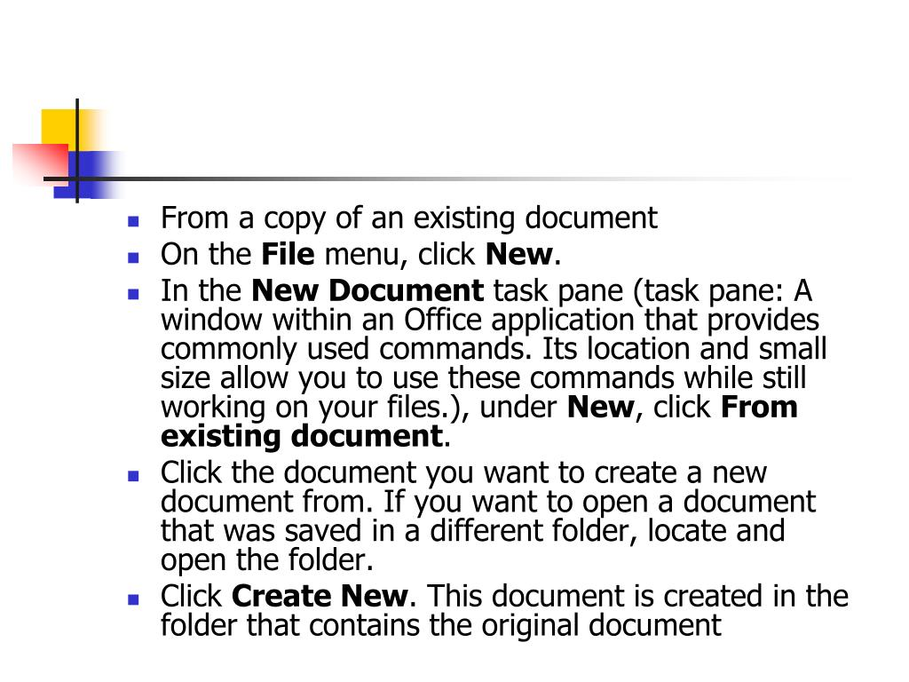 From a copy of an existing document