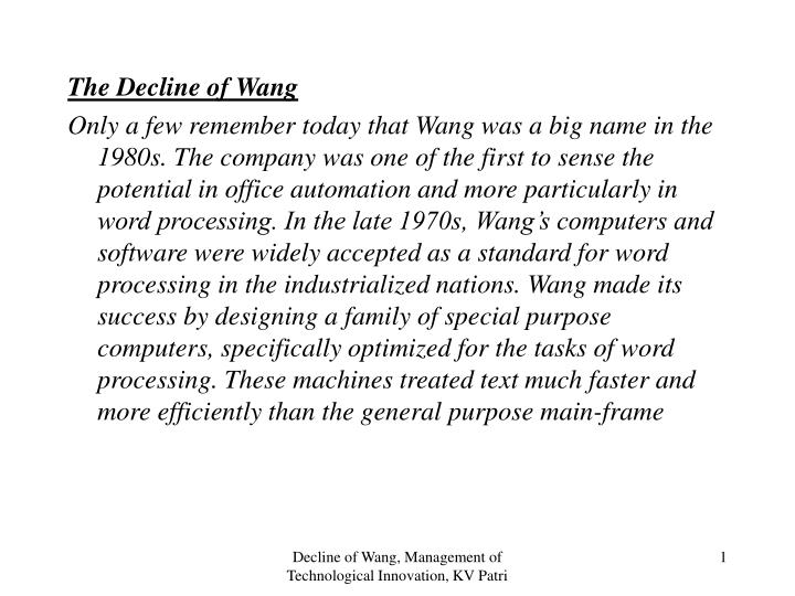 The Decline of Wang