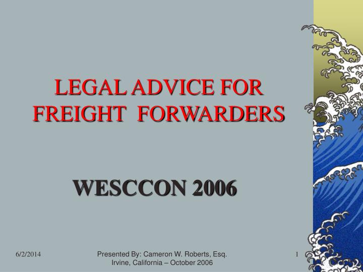 legal advice for freight forwarders n.