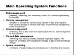 main operating system functions