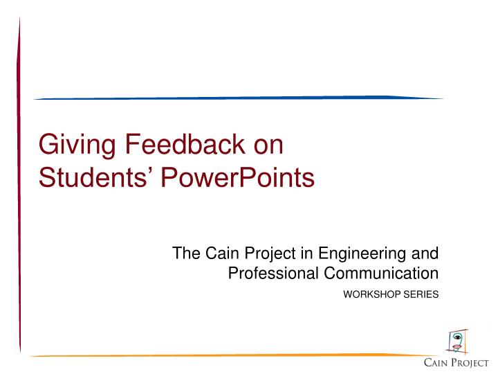 giving feedback on students powerpoints n.